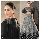 The Begum strolled across the red carpet of the style awards in a Manish Malhotra number, and quite interestingly, received her award at the hands of her favorite designer friend too. The black matching separates made a bold statement in its monochromatic mood, and the nude lips and bold smokey eyes blended in the set mood perfectly. Her hair was neatly pulled back in a bun. In the name of accessories, we could only see a lack geometric dangler. What steals the show, is the pair of tiered sleeves.