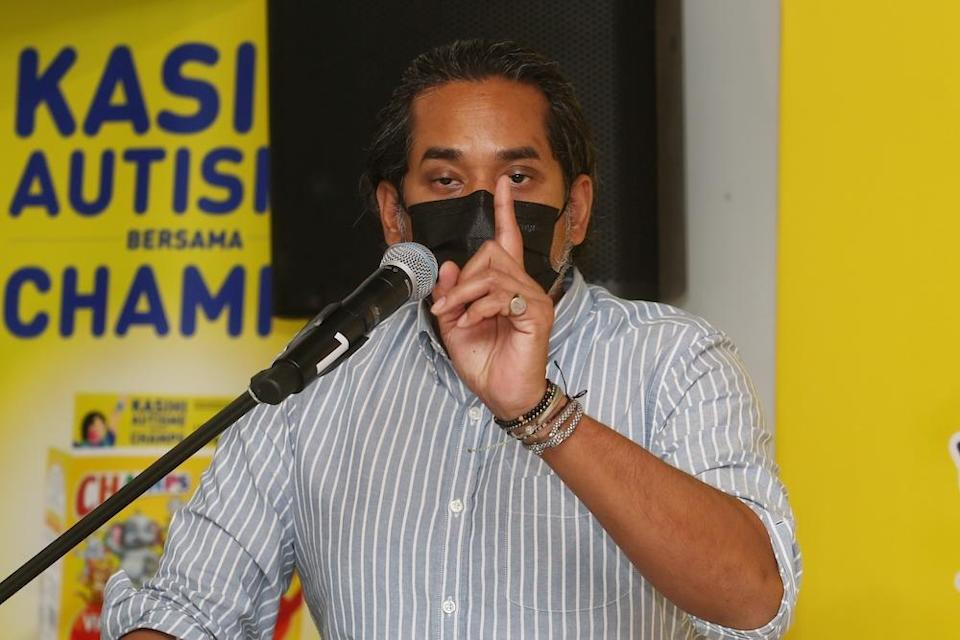 Khairy Jamaluddin speaks to the media after the launch of  CHAMPS®-NASOM Autism Awareness campaign in Subang April 9, 2021. — Picture by Choo Choy May