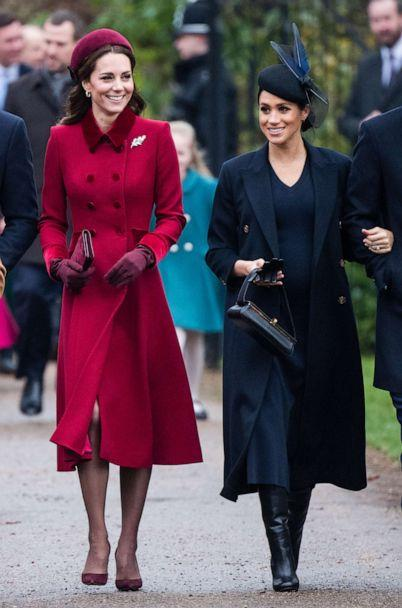 PHOTO: Catherine, Duchess of Cambridge and Meghan, Duchess of Sussex attend Christmas Day Church service at Church of St Mary Magdalene on the Sandringham estate, Dec. 25, 2018 in King's Lynn, England. (Samir Hussein/Pool/Getty Images)