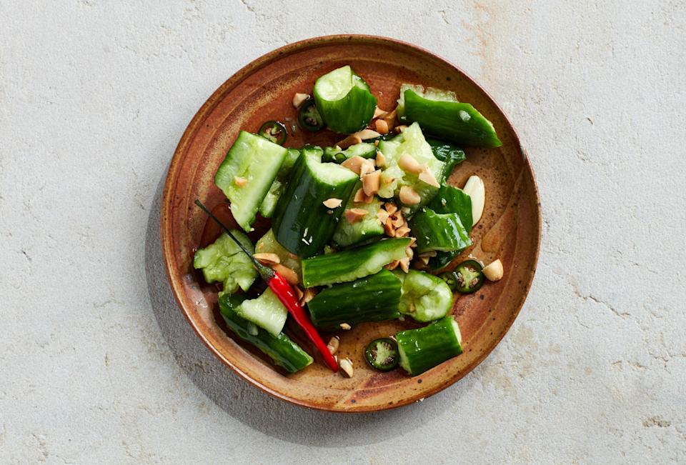 """<a href=""""https://www.bonappetit.com/recipe/smashed-cucumber-salad-with-hot-vinegar?mbid=synd_yahoo_rss"""" rel=""""nofollow noopener"""" target=""""_blank"""" data-ylk=""""slk:See recipe."""" class=""""link rapid-noclick-resp"""">See recipe.</a>"""