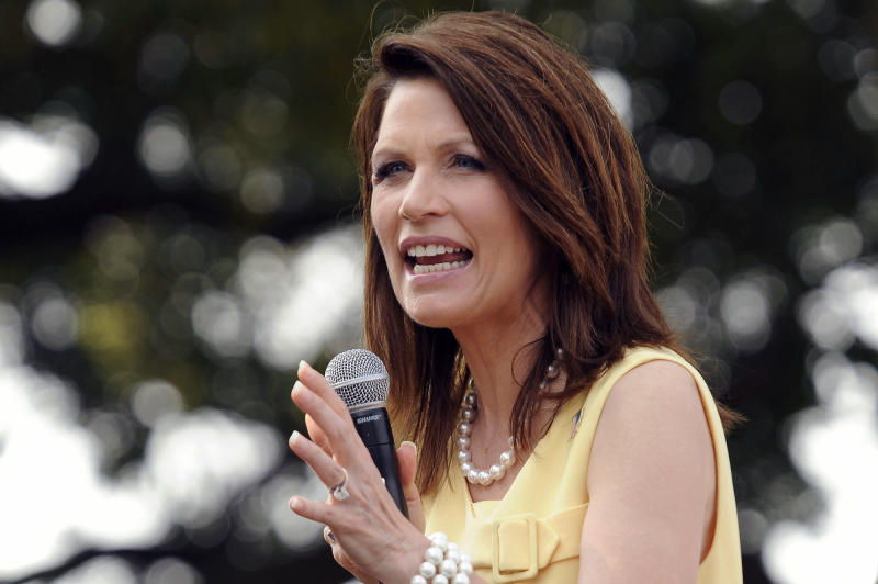 "FILE - In this June 29, 2011 file photo, Republican presidential candidate, Rep. Michele Bachmann, R-Minn., speaks in Charleston, S.C. Michele Bachmann declared Friday, Aug. 5, 2011  ""it won't take that long"" for her to start turning the ailing economy around as president as she competed against other GOP presidential rivals to build support ahead of a key GOP straw poll in Iowa next week.  (AP Photo/Andy Dunaway, File)"