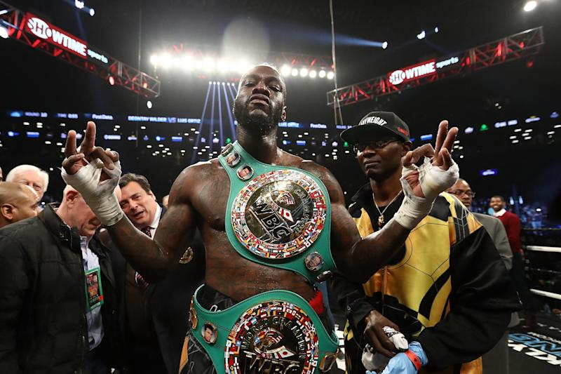 Business Time | Deontay Wilder poses after knocking out Luis Ortiz in the tenth round of their WBC Heavyweight Championship fight in Brooklyn in March: Al Bello/Getty Images
