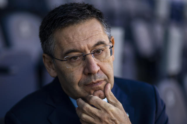 "In this Friday, Nov. 8, 2019, photo, President of FC Barcelona Josep Bartomeu pauses during and interview with the Associated Press at the Camp Nou stadium in Barcelona, Spain. Bartomeu told The Associated Press on Friday that ""we are preparing this post Messi era."" (AP Photo/Emilio Morenatti)"