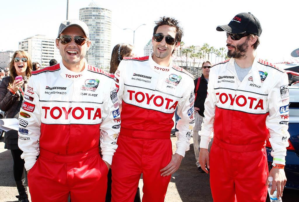 """Amateur drivers Christian Slater, Adrien Brody, and last year's champion, Keanu Reeves, also suited up for the event. The stars will cruise 10 laps to raise $100,000 for Racing for Kids, an organization that helps children's hospitals in SoCal. <a href=""""http://www.splashnewsonline.com"""" target=""""new"""">Splash News</a> - April 6, 2010"""