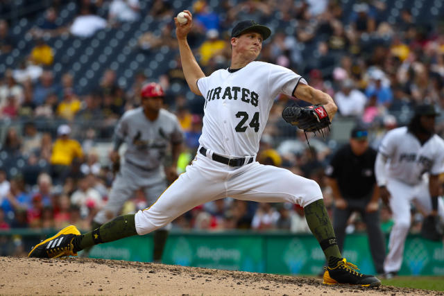 Pittsburgh Pirates' Tyler Glasnow delivers in of a baseball game against the St. Louis Cardinals in Pittsburgh, Saturday, May 26, 2018. (AP Photo/Gene J. Puskar)