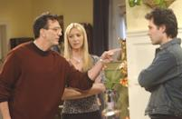 <p>Hank Azaria first appeared in <em>Friends</em> as David, Phoebe's scientist boyfriend. On the show, he moves away to Minsk, Russia in season 1, but his character continues to pop up throughout the series.</p>