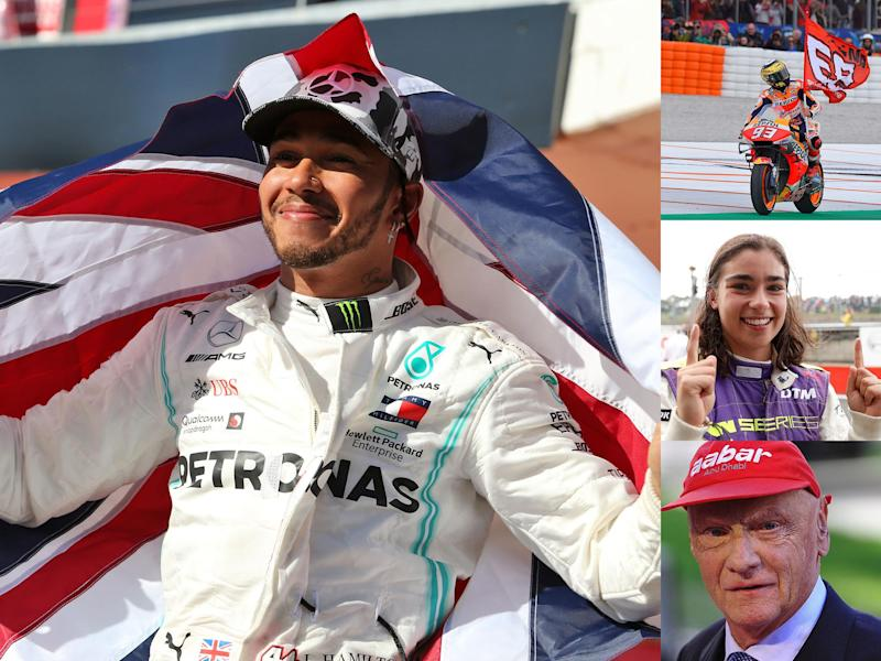 Lewis Hamilton, Marc Marquez and Jamie Chadwick (clockwise) all won titles in 2019 but motorsport lost Niki Lauda: Getty