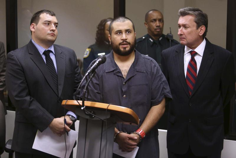 George Zimmerman speaks to judge during a first-appearance hearing in Sanford, Florida