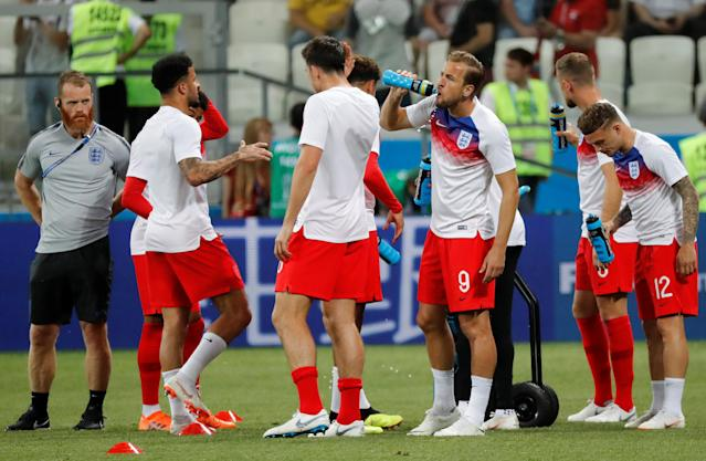 Soccer Football - World Cup - Group G - Tunisia vs England - Volgograd Arena, Volgograd, Russia - June 18, 2018 England's Harry Kane takes a drink during the warm up before the match REUTERS/Toru Hanai