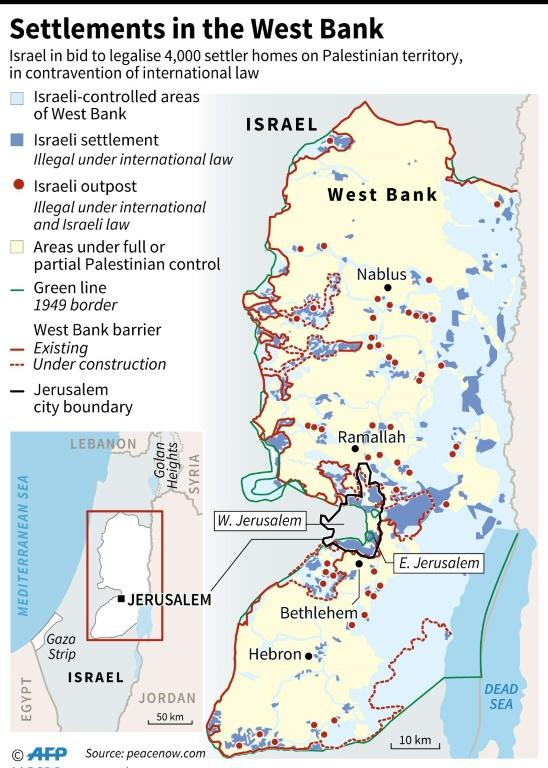 Graphic map of the West Bank showing settlements and areas of control