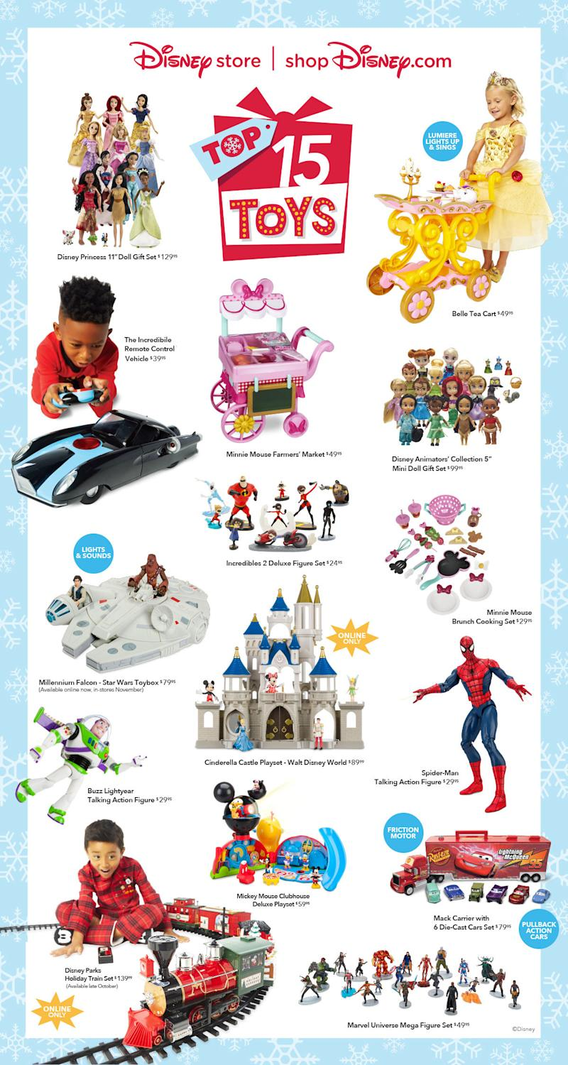 "disney store and shopdisney reveal the ""top 15 holiday toys"" list"