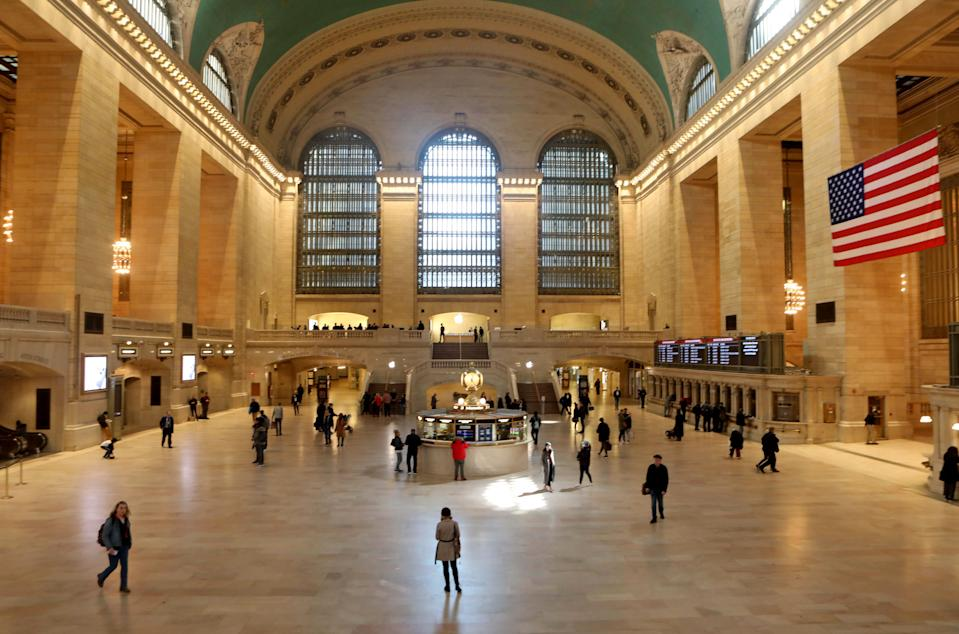 Even for a typically slow Sunday afternoon, Grand Central Terminal in New York City was quieter than usual March 15, 2020, as coronavirus concerns kept travelers and tourists off the streets and away from popular destinations in the city.