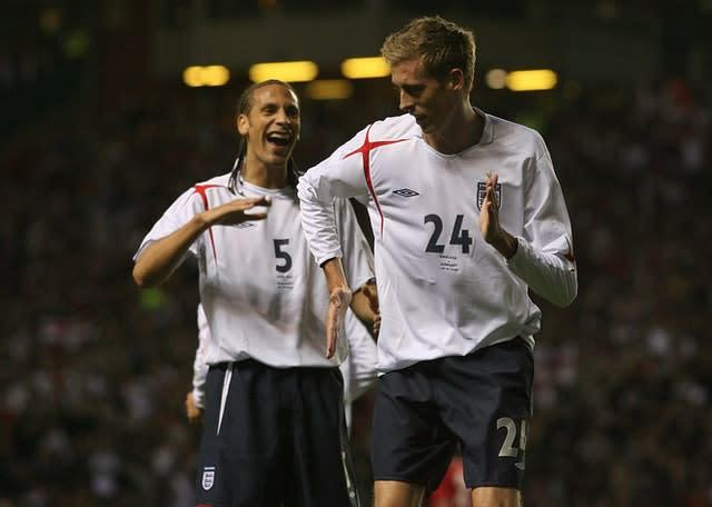 Crouch celebrates against Hungary (PA)