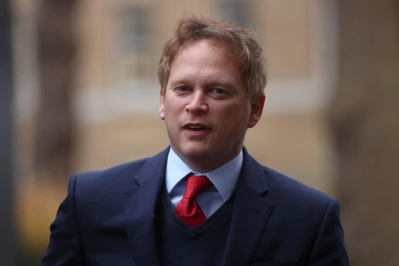 Britain's Transport Secretary Grant Shapps arrives at Downing Street in London