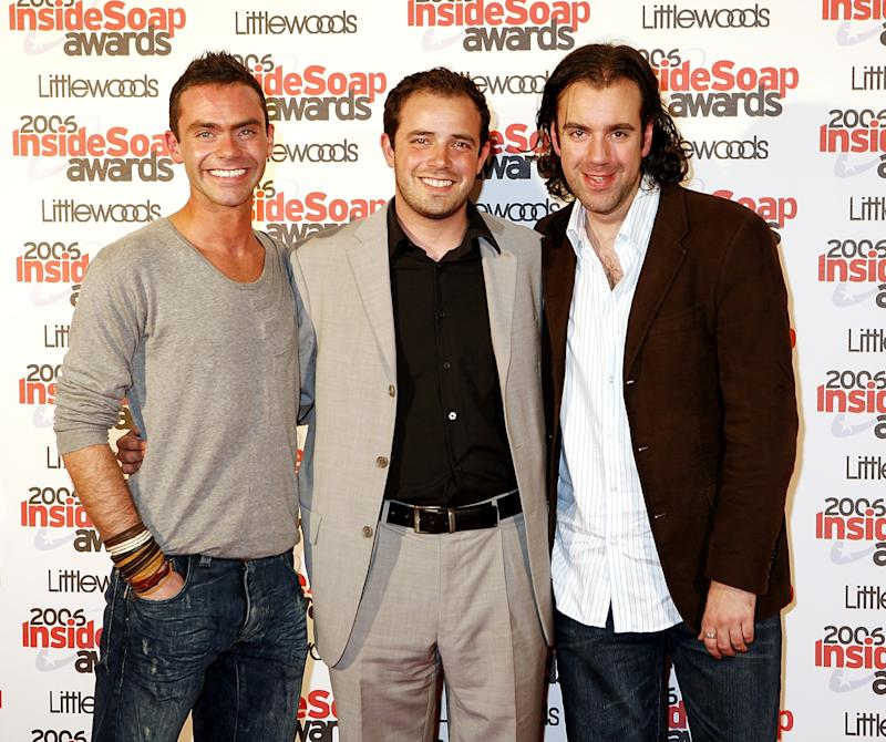 LONDON - SEPTEMBER 25: (UK TABLOID NEWSPAPERS OUT) Actors (L-R) Daniel Brocklebank, Charlie Kemp and Liam O'Brien arrive at the Inside Soap Awards 2006 at Floridita on September 25, 2006 in London, England. (Photo by Claire Greenway/Getty Images)