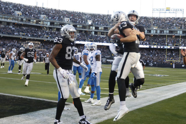 Oakland Raiders wide receiver Hunter Renfrow (13) celebrates with quarterback Derek Carr, right, after they connected on a touchdown pass against the Detroit Lions during the second half of an NFL football game in Oakland, Calif., Sunday, Nov. 3, 2019. (AP Photo/D. Ross Cameron)