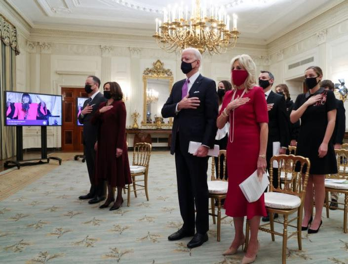 U.S. President Biden participates remotely in a virtual Presidential Inaugural Prayer Service from the White House in Washington