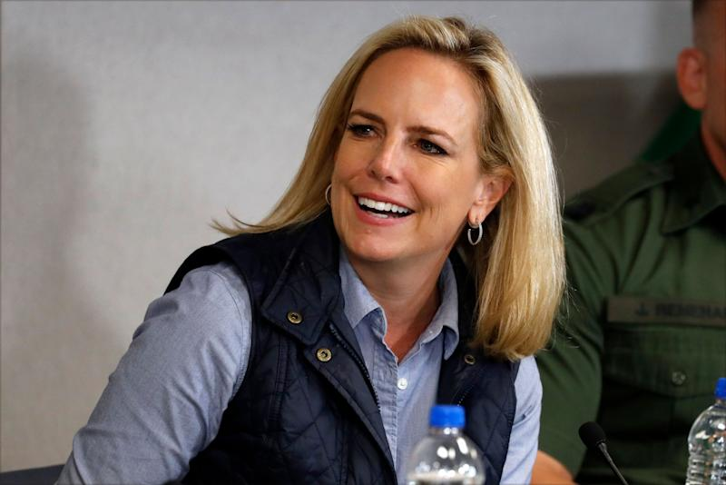 Then-Homeland Security Secretary Kirstjen Nielsen listens to President Donald Trump at a roundtable on immigration and border security at the U.S. Border Patrol Calexico Station in Calexico, California, April 5, 2019. Trump headed to the border with Mexico to make a renewed push for border security as a central campaign issue for his 2020 reelection. (AP Photo/Jacquelyn Martin) (Photo: Jacquelyn Martin/Associated Press)