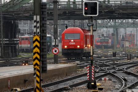 Trains of the national rail company OeBB are seen during a warning strike in a railway station in Vienna, Austria November 26, 2018. REUTERS/Leonhard Foeger