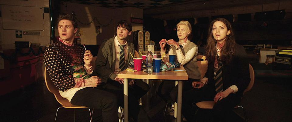 ANNA AND THE APOCALYPSE, from left: Malcolm Cumming, Christopher Leveaux, Sarah Swire, Ella Hunt, 2017. © Orion Pictures/courtesy Everett Collection
