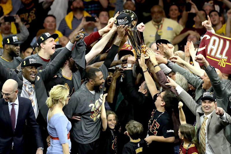 A lot of hands helped lift the Cavs to their first NBA championship. Now, they'll all be wearing rings. (Getty Images)