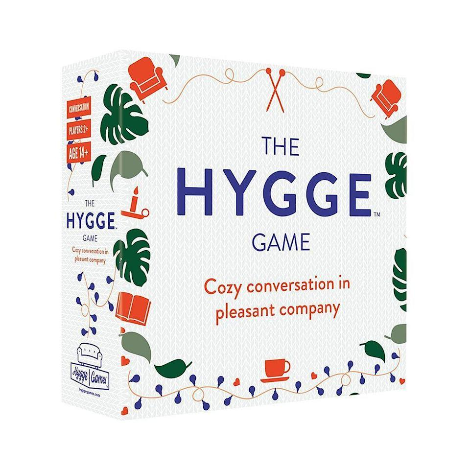 """<p><strong>Hygge Games</strong></p><p>amazon.com</p><p><strong>$20.00</strong></p><p><a href=""""https://www.amazon.com/dp/B0778X7GNL?tag=syn-yahoo-20&ascsubtag=%5Bartid%7C10051.g.36317445%5Bsrc%7Cyahoo-us"""" rel=""""nofollow noopener"""" target=""""_blank"""" data-ylk=""""slk:Shop Now"""" class=""""link rapid-noclick-resp"""">Shop Now</a></p><p>The Hygge game contains 330 questions that are thought-provoking, yet not mentally draining (i.e., """"What's the most annoying sound?""""). Now that we're all beginning to interact with people IRL again, this game will be more useful than ever in remembering how to make conversation. </p>"""