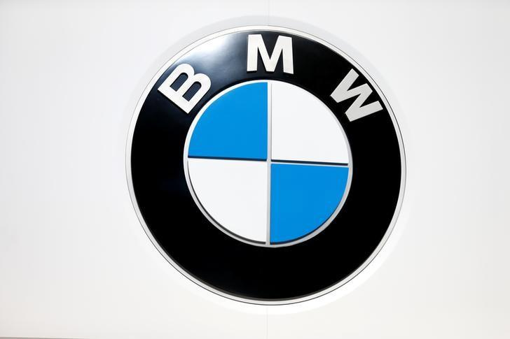 The logo of BMW is seen during the 88th International Motor Show at Palexpo in Geneva