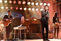 "During the One Direction days, Harry's concert outfits were pretty simple: He mostly performed in jeans and a t-shirt. But 2017 marked a clear ""before and after"" for the singer, who was now performing his solo work. For one of his very first live performances as a soloist, Harry wore this Gucci suit to <em>SNL</em>."