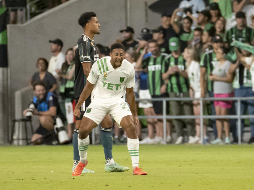 Austin FC forward Orrin McKinze Gaines II reacts after scoring his first goal as an Austin FC player during the second half of an MLS soccer match against the LA Galaxy, Sunday, Sept. 26, 2021, in Austin, Texas. Austin FC won 2-0. (AP Photo/Michael Thomas)