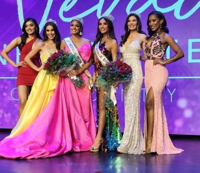 Kataluna Enriquez (fourth from the left) and other contestants pose for a photo. Enriquez was the first transgender woman to be crowned Miss Nevada USA.