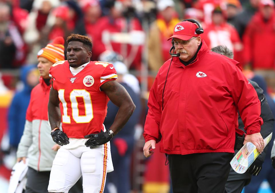 Kansas City Chiefs wide receiver Tyreek Hill (10) and head coach Andy Reid against the Houston Texans in the AFC Divisional Round playoff football game at Arrowhead Stadium. Mandatory Credit: Mark J. Rebilas-USA TODAY Sports