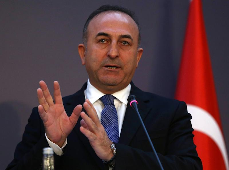 Turkish Foreign Minister Mevlut Cavusoglu addresses a press conference in Ankara, on January 25, 2016 (AFP Photo/Adem Altan)