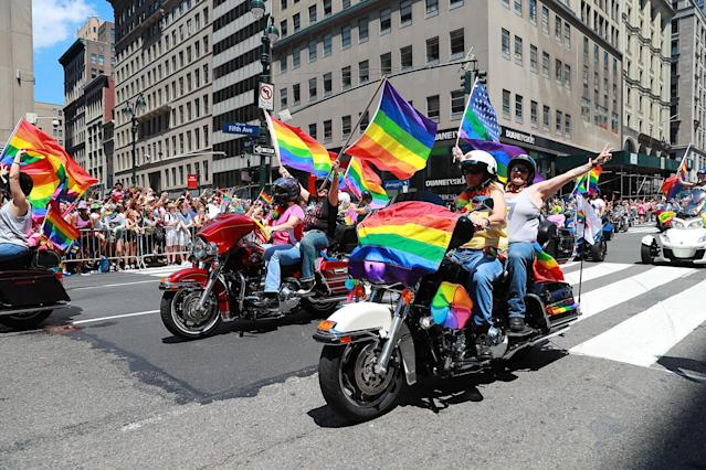 <p>Women ride motorcycles during the N.Y.C. Pride Parade in New York on June 25, 2017. (Photo: Gordon Donovan/Yahoo News) </p>