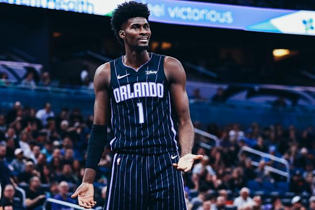 Orlando Magic forward Jonathan Isaac went down with a knee injury on Wednesday afternoon and had to be stretchered off the floor. (Harry Aaron/Getty Images)