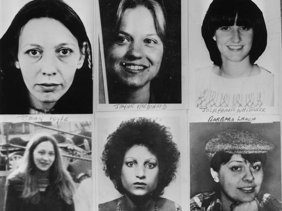 Six of Peter Sutcliffe's victims: Vera Millward, Jayne MacDonald, Josephine Whittaker, Jean Royle, Helga Rytka and Barbara LeachGetty Images