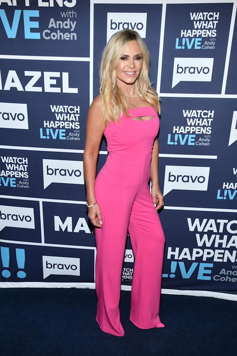 Lady in Pink aka Tamra Judge looks gorgeous in this jump suit that shows of her curves.