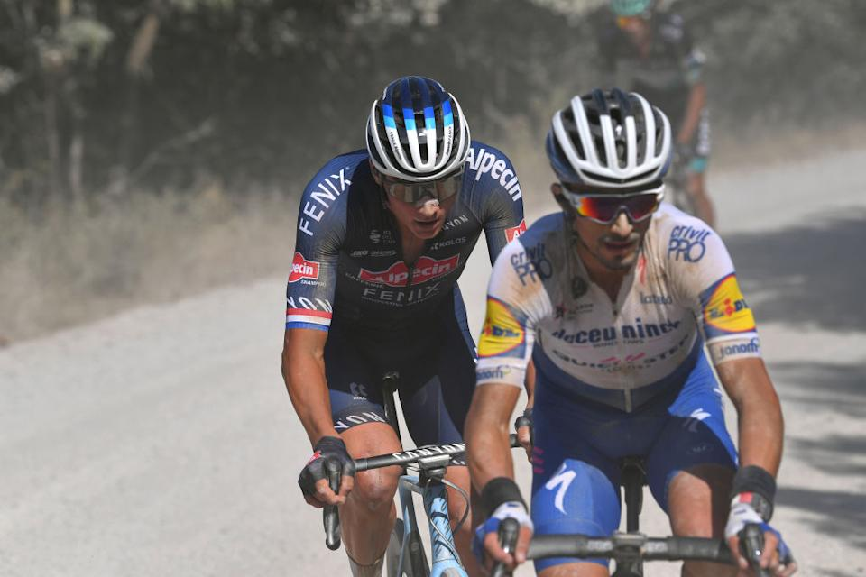 SIENA ITALY  AUGUST 01 Mathieu Van der Poel of The Netherlands and Team AlpecinFenix  Julian Alaphilippe of France and Team Deceuninck  QuickStep  during the Eroica  14th Strade Bianche 2020  Men a 184km race from Siena to SienaPiazza del Campo  StradeBianche  on August 01 2020 in Siena Italy Photo by Tim de WaeleGetty Images