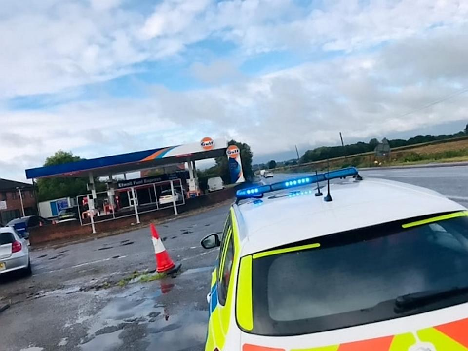 Police found long queues of cars that had been attempting to enter a petrol station near Burnaston, Derbyshire for three hours despite it being closed.