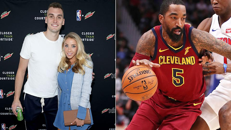 Pictured left, Sam Dekker and his wife Oloivia, with J.R. Smith on the right.