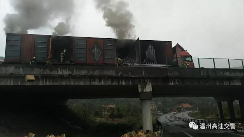Chinese villagers loot Adidas trainers after truck catches fire