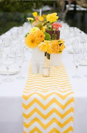 """<div class=""""caption-credit""""> Photo by: La Vida Creations</div>Yellow and white chevron is a classic combo, and yellow flowers make the look extra cheery. <br> <br> <a href=""""http://lover.ly/color/yellow?e=0&utm_source=shine2-7-13chevron&utm_medium=guest&utm_campaign=shine2-7-13chevron"""" rel=""""nofollow noopener"""" target=""""_blank"""" data-ylk=""""slk:More yellow wedding ideas"""" class=""""link rapid-noclick-resp"""">More yellow wedding ideas</a> <br> <br> Photo by: <a href=""""http://styleunveiled.com/wedding-blog/tag/la-vida-creations-photography"""" rel=""""nofollow noopener"""" target=""""_blank"""" data-ylk=""""slk:La Vida Creations"""" class=""""link rapid-noclick-resp"""">La Vida Creations</a> on <a href=""""http://styleunveiled.com/wedding-blog/a-san-diego-wedding-with-yellow-aqua-chevron-details.html"""" rel=""""nofollow noopener"""" target=""""_blank"""" data-ylk=""""slk:Style Unveiled"""" class=""""link rapid-noclick-resp"""">Style Unveiled</a> via <a href=""""http://lover.ly/image/376226"""" rel=""""nofollow noopener"""" target=""""_blank"""" data-ylk=""""slk:Lover.ly"""" class=""""link rapid-noclick-resp"""">Lover.ly</a> <br> <br>"""