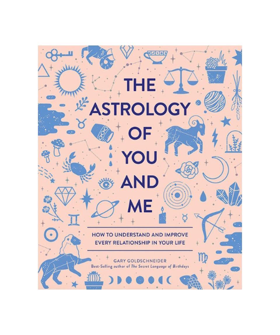 """For the person who told you about their fiancé's sign before you even met them, get <em>The Astrology of You and Me</em> by Gary Goldschneider. Chapters are organized by astrological sign, so couples can learn every heavenly thing there is to know about each other. $25, Urban Outfitters. <a href=""""https://www.urbanoutfitters.com/shop/the-astrology-of-you-and-me-how-to-understand-improve-every-relationship-by-gary-goldschneider"""" rel=""""nofollow noopener"""" target=""""_blank"""" data-ylk=""""slk:Get it now!"""" class=""""link rapid-noclick-resp"""">Get it now!</a>"""