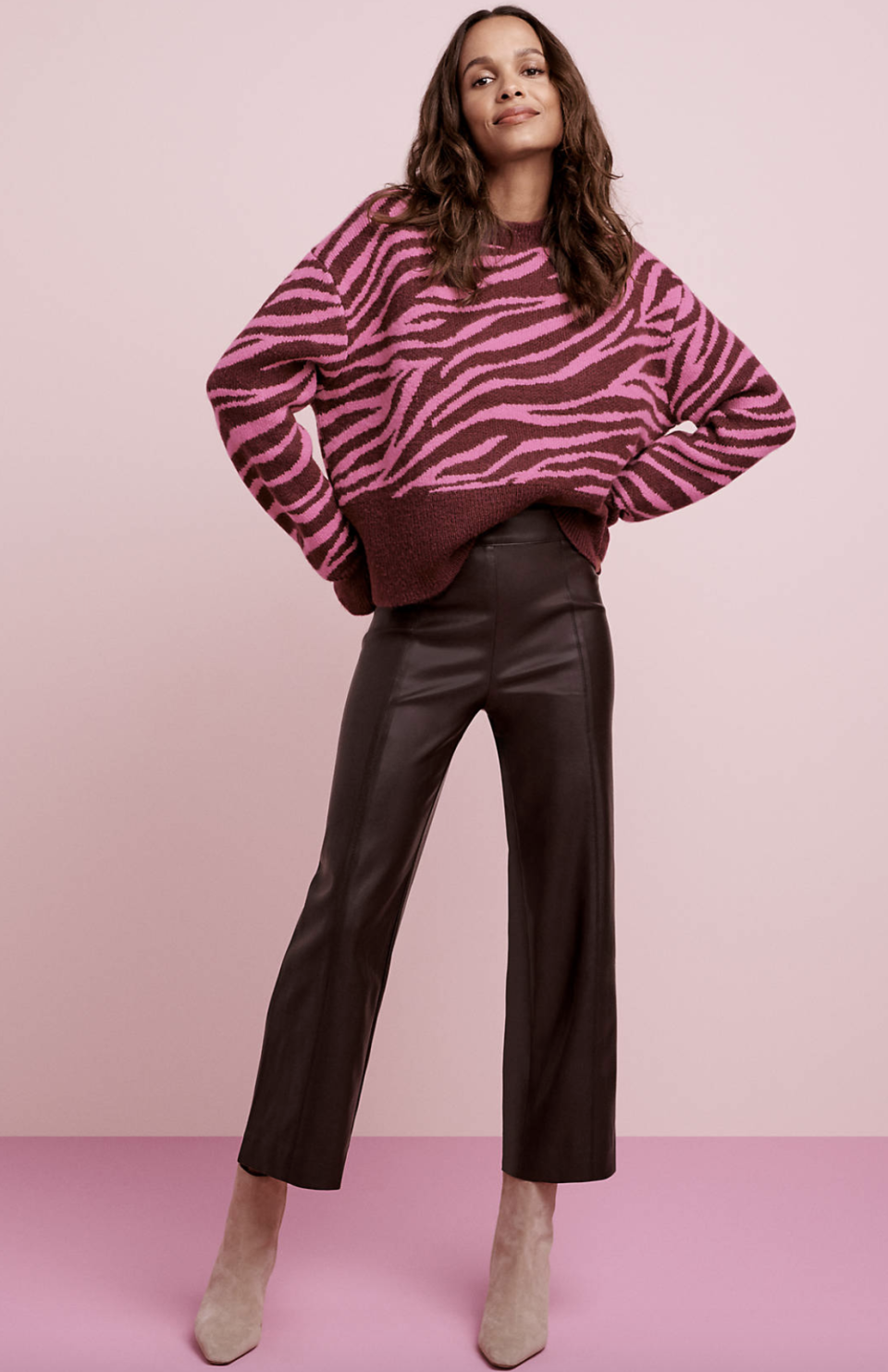 Ann Taylor The Petite Faux Leather Easy Straight Crop Pant, $109.
