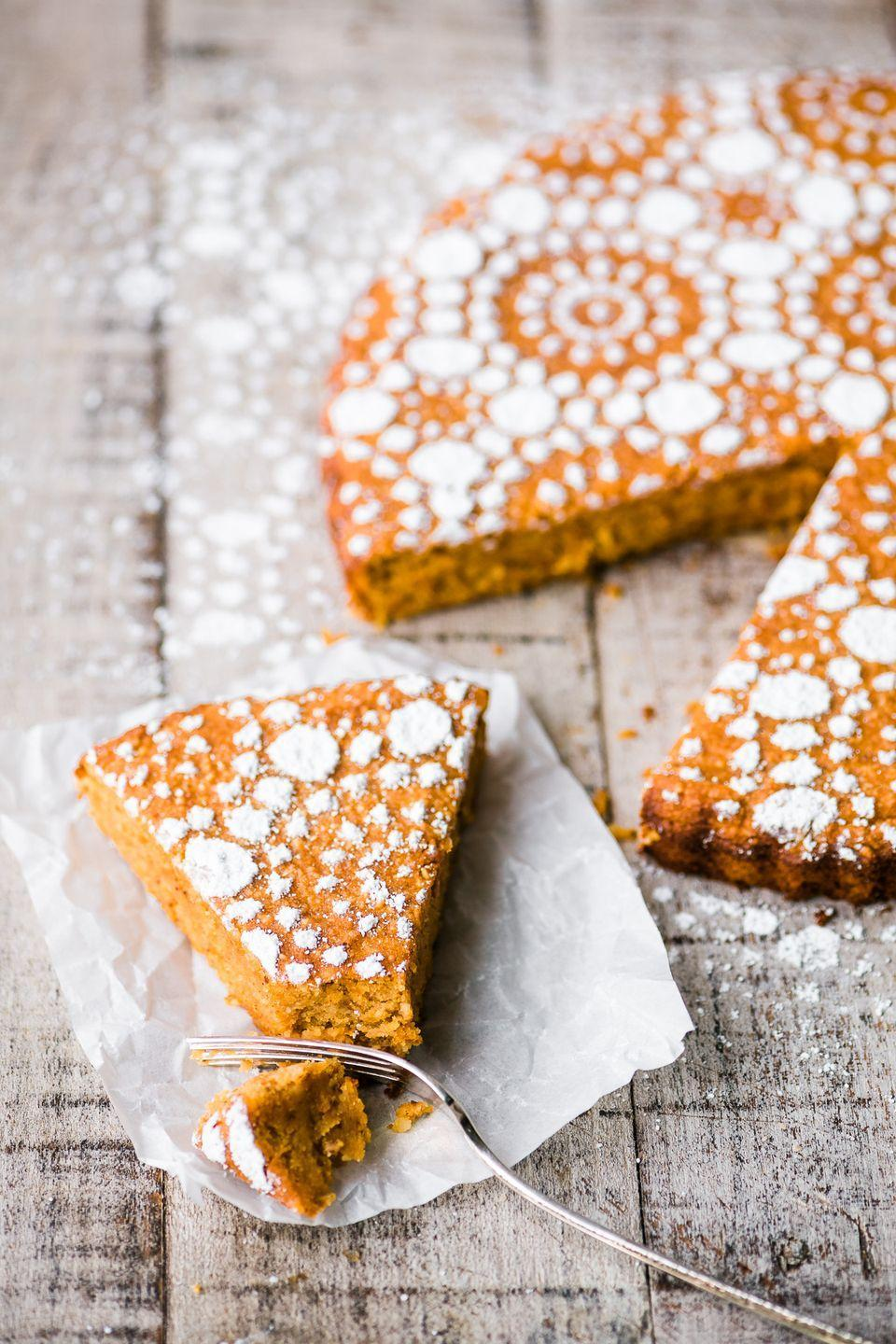 """<p>This recipe is a cross between pumpkin pie and pumpkin cake, and we're obsessed with it. </p><p>Get the <a href=""""https://theviewfromgreatisland.com/flourless-pumpkin-spice-cake-recipe/"""" rel=""""nofollow noopener"""" target=""""_blank"""" data-ylk=""""slk:Flourless Pumpkin Spice Cake"""" class=""""link rapid-noclick-resp"""">Flourless Pumpkin Spice Cake</a> recipe.</p><p>Recipe from <a href=""""https://theviewfromgreatisland.com/"""" rel=""""nofollow noopener"""" target=""""_blank"""" data-ylk=""""slk:A View From The Great Island"""" class=""""link rapid-noclick-resp"""">A View From The Great Island</a>.</p>"""