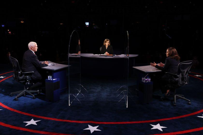 "Vice President Mike Pence, Democratic vice presidential nominee Sen. Kamala Harris and moderator Susan Page participate in the vice presidential debate in Salt Lake City. <span class=""copyright"">(Justin Sullivan / Pool Photo)</span>"