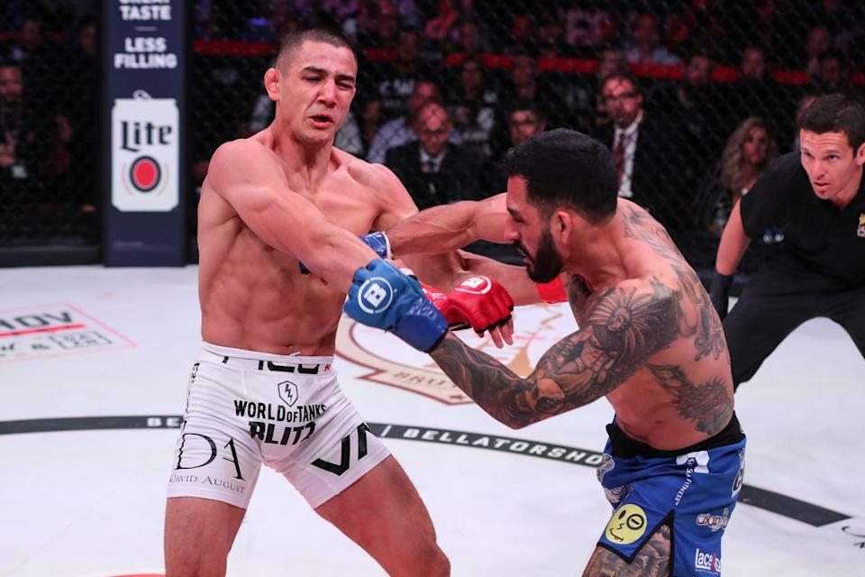 Henry Corrales (R) quickly recovered after being knocked down by Aaron Pico in the first round, then finished Pico in stunning fashion. (Photo courtesy Bellator)