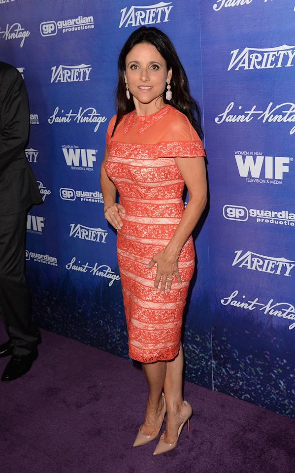 Actress Julia Louis-Dreyfus arrives at Variety and Women in Film Pre-EMMY Event presented by Saint Vintage at Montage Beverly Hills on September 21, 2012 in Beverly Hills, California.  (Photo by Jason Merritt/WireImage)