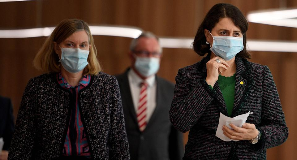 NSW Premier Gladys Berejiklian (right) and Chief Health Officer Dr Kerry Chant arrive to address media during a press conference in Sydney, Thursday, September 2, 2021. Source: AAP