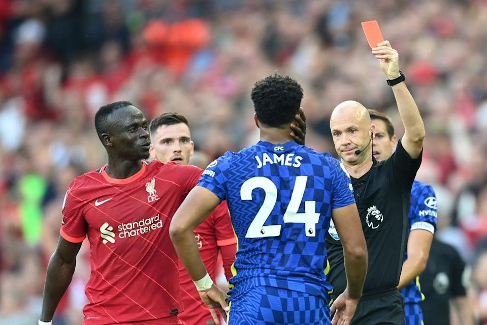 Chelsea defender Reece James was sent off for handball at Anfield  (Getty Images)