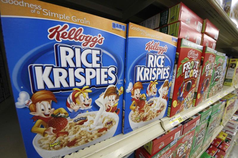 In a Wednesday, July 18, 2012 photo, Kellogg's cereals are on display at a Pittsburgh grocery market. For the three months ended June 30, Kellogg earned $301 million, or 84 cents per share. That's down 12 percent from $343 million, or 94 cents per share, a year earlier. (AP Photo/Gene J. Puskar)
